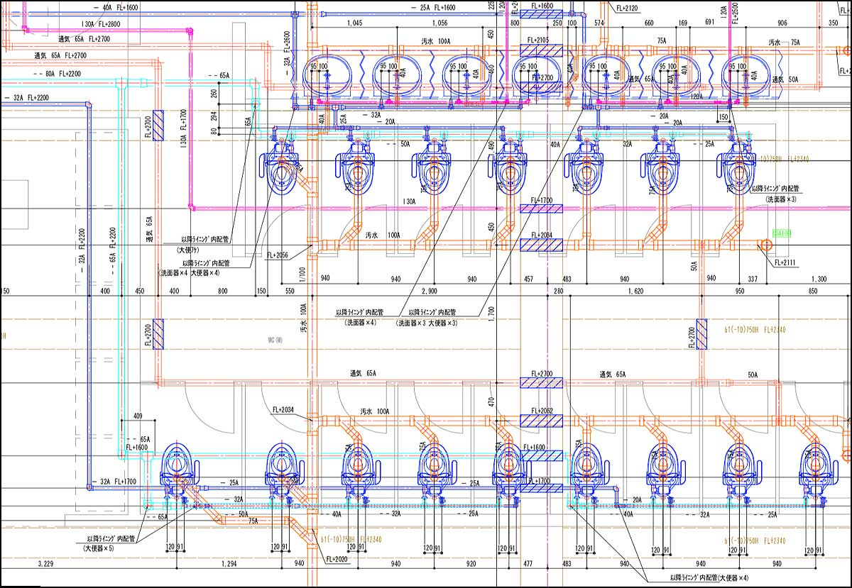 便所詳細図|機械設備図面