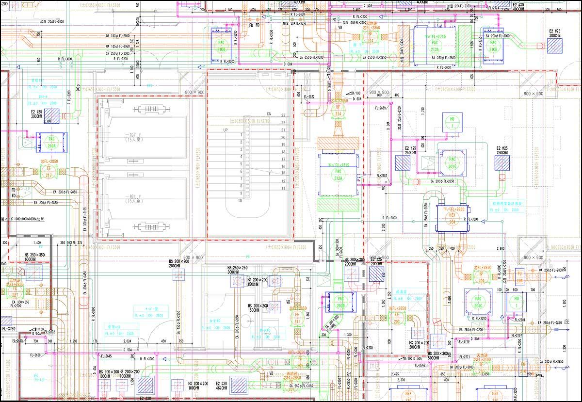 ダクト配管平面図|機械設備図面