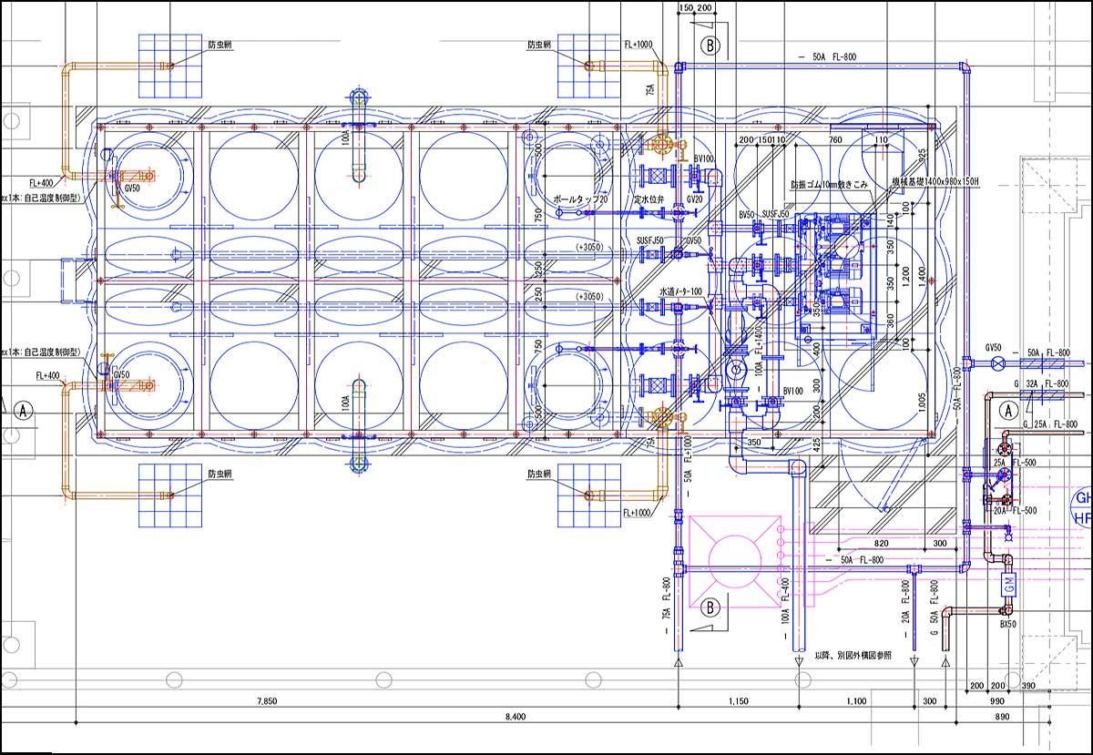 受水槽廻り配管詳細図|機械設備図面