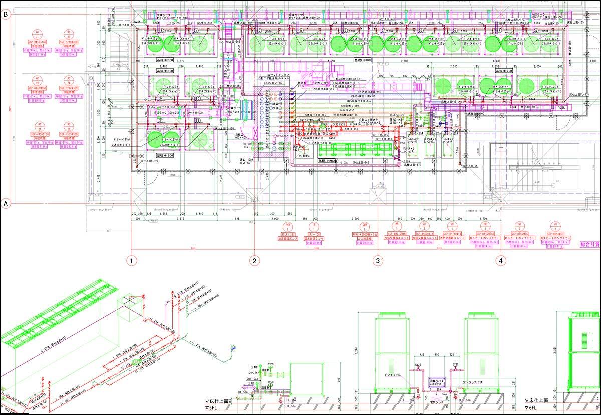 屋上室外機詳細図|機械設備図面